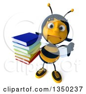 Clipart Of A 3d Female Bee Holding Up A Thumb Down And A Stack Of Books Royalty Free Illustration