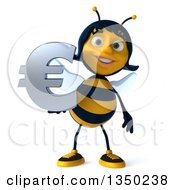 Clipart Of A 3d Female Bee Holding A Euro Currency Symbol Royalty Free Illustration