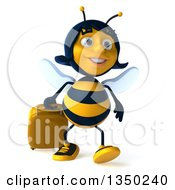 Clipart Of A 3d Female Bee Walking With A Suitcase Royalty Free Illustration