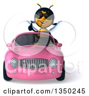 Clipart Of A 3d Female Bee Wearing Sunglasses Giving A Thumb Up And Driving A Pink Convertible Car Royalty Free Illustration by Julos