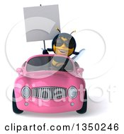 Clipart Of A 3d Female Bee Wearing Sunglasses Holding A Blank Sign And Driving A Pink Convertible Car Royalty Free Illustration by Julos