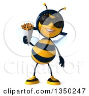 Clipart Of A 3d Female Bee Wearing Sunglasses And Holding French Fries Royalty Free Illustration by Julos
