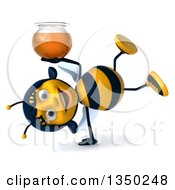 Clipart Of A 3d Female Bee Cartwheeling And Holding A Honey Jar Royalty Free Illustration by Julos