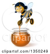 Clipart Of A 3d Female Bee Flying And Holding A Dipper Over A Honey Jar Royalty Free Illustration by Julos