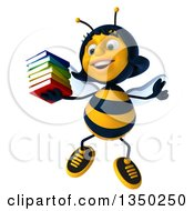Clipart Of A 3d Female Bee Jumping And Holding A Stack Of Books Royalty Free Illustration