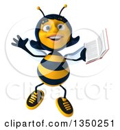 Clipart Of A 3d Female Bee Jumping And Holding A Book Royalty Free Illustration by Julos