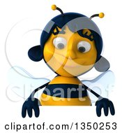 Clipart Of A 3d Female Bee Looking Down Over A Sign Royalty Free Illustration by Julos
