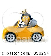 Clipart Of A 3d Queen Bee Driving A Yellow Car To The Left Royalty Free Illustration by Julos