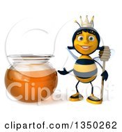 Clipart Of A 3d Happy Queen Bee Holding A Dipper And Presenting A Honey Jar Royalty Free Illustration