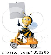 Clipart Of A 3d Male Bee Holding A Blank Sign And Driving A Scooter To The Left Royalty Free Illustration