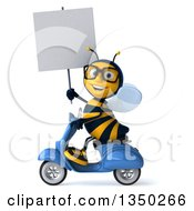 Clipart Of A 3d Bespectacled Male Bee Holding A Blank Sign And Driving A Blue Scooter To The Left Royalty Free Illustration