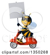 Clipart Of A 3d Male Bee Wearing Sunglasses Holding A Blank Sign And Driving A Red Scooter To The Left Royalty Free Illustration
