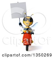 Clipart Of A 3d Male Bee Wearing Sunglasses Holding A Blank Sign And Driving A Red Scooter Royalty Free Illustration