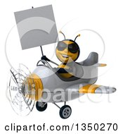 Clipart Of A 3d Male Bee Aviator Pilot Wearing Sunglasses Holding A Blank Sign And Flying A White And Yellow Airplane To The Left Royalty Free Illustration