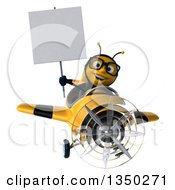 3d Bespectacled Male Bee Aviator Pilot Holding A Blank Sign And Flying A Yellow And Black Airplane