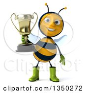 Clipart Of A 3d Happy Male Gardener Bee Holding A Trophy Royalty Free Illustration