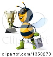 3d Happy Male Gardener Bee Wearing Sunglasses Holding A Watering Can And Walking To The Left With A Trophy