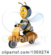 Clipart Of A 3d Male Bee Driving A Scooter To The Left Royalty Free Illustration