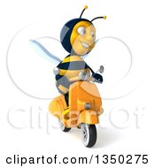 Clipart Of A 3d Male Bee Driving A Scooter Royalty Free Illustration