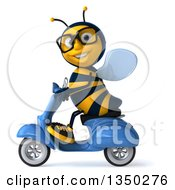 3d Bespectacled Male Bee Driving A Blue Scooter To The Left