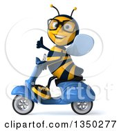 Clipart Of A 3d Bespectacled Male Bee Giving A Thumb Up And Driving A Blue Scooter To The Left Royalty Free Illustration