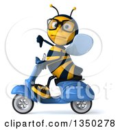 Clipart Of A 3d Bespectacled Male Bee Giving A Thumb Down And Driving A Blue Scooter To The Left Royalty Free Illustration by Julos
