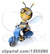 Clipart Of A 3d Bespectacled Male Bee Driving A Blue Scooter To The Left Royalty Free Illustration