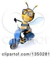 Clipart Of A 3d Bespectacled Male Bee Giving A Thumb Down And Driving A Blue Scooter To The Left Royalty Free Illustration