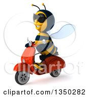 Clipart Of A 3d Male Bee Wearing Sunglasses And Driving A Red Scooter To The Left Royalty Free Illustration