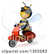 3d Male Bee Wearing Sunglasses And Driving A Red Scooter To The Left