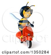 Clipart Of A 3d Male Bee Wearing Sunglasses And Driving A Red Scooter Royalty Free Illustration