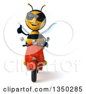 Clipart Of A 3d Male Bee Wearing Sunglasses Giving A Thumb Up And Driving A Red Scooter Royalty Free Illustration