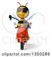 Clipart Of A 3d Male Bee Wearing Sunglasses Giving A Thumb Down And Driving A Red Scooter Royalty Free Illustration