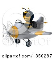 Clipart Of A 3d Male Bee Aviator Pilot Wearing Sunglasses And Flying A White And Yellow Airplane To The Left Royalty Free Illustration