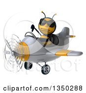 Clipart Of A 3d Male Bee Aviator Pilot Wearing Sunglasses Giving A Thumb Down And Flying A White And Yellow Airplane To The Left Royalty Free Illustration