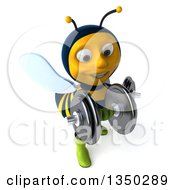 3d Male Bee Gardener Working Out With Dumbbells