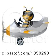 Clipart Of A 3d Male Bee Aviator Pilot Wearing Sunglasses Giving A Thumb Up And Flying A White And Yellow Airplane To The Left Royalty Free Illustration