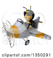 3d Male Bee Aviator Pilot Wearing Sunglasses And Flying A White And Yellow Airplane To The Left