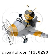 Clipart Of A 3d Male Bee Aviator Pilot Wearing Sunglasses Giving A Thumb Up And Flying A White And Yellow Airplane To The Left Royalty Free Illustration by Julos