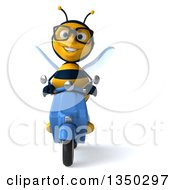 Clipart Of A 3d Bespectacled Male Bee Driving A Blue Scooter Royalty Free Illustration