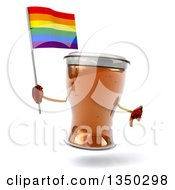 Clipart Of A 3d Beer Mug Character Holding A Rainbow Flag And Thumb Down Royalty Free Illustration