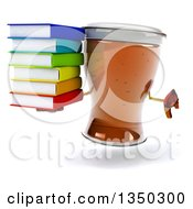 Clipart Of A 3d Beer Mug Character Giving A Thumb Down And Holding A Stack Of Books Royalty Free Illustration by Julos