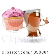 Clipart Of A 3d Beer Mug Character Holding Up A Finger And A Cupcake Royalty Free Illustration by Julos