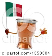 Clipart Of A 3d Beer Mug Character Jumping And Holding A Mexican Royalty Free Illustration by Julos