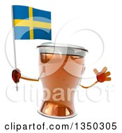 Clipart Of A 3d Beer Mug Character Jumping And Holding A Sweden Flag Royalty Free Illustration by Julos