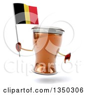 Clipart Of A 3d Beer Mug Character Giving A Thumb Down And Holding A Belgian Flag Royalty Free Illustration by Julos
