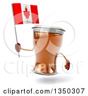 Clipart Of A 3d Beer Mug Character Holding A Canadian Flag Royalty Free Illustration by Julos