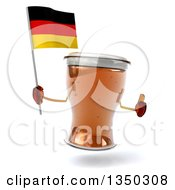 Clipart Of A 3d Beer Mug Character Giving A Thumb Up And Holding A German Flag Royalty Free Illustration by Julos