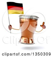 Clipart Of A 3d Beer Mug Character Holding Up A Finger And A German Flag Royalty Free Illustration by Julos