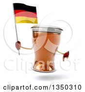 Clipart Of A 3d Beer Mug Character Giving A Thumb Down And Holding A German Flag Royalty Free Illustration by Julos